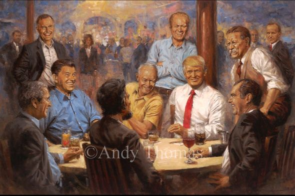 """Andy Thomas Artist Signed and Numbered Limited Edition Giclee:""""The Republican Club with Donald Trump"""""""