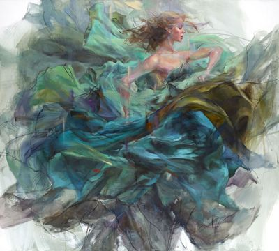 "Anna Razumovskaya Hand Signed and Numbered Limited Editiion Embellished Canvas Giclee:""Emerald Splendor"""
