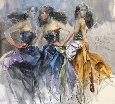 "Anna Razumovskaya Hand Signed and Numbered Limited Editiion Embellsihed Canvas Giclee:""Silver Kingdom"""
