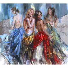 """Anna Razumovskaya Hand Signed and Numbered Limited Edition Embellished Canvas Giclee:""""Enigma"""""""