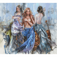 """Anna Razumovskaya Hand Signed and Numbered Limited Edition Embellished Canvas Giclee:""""Sweet Refrain"""""""