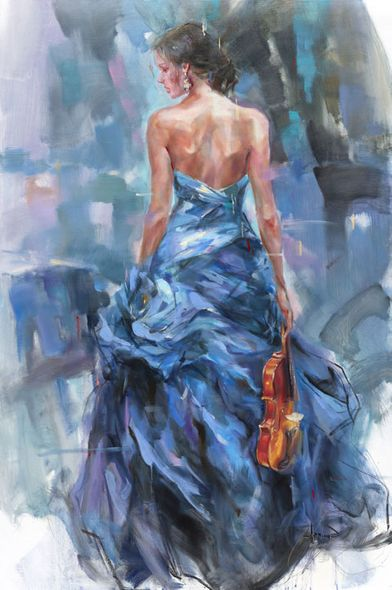 "Anna Razumovskaya Hand Signed and Numbered Limited Edition Embellished Canvas Giclee:""Variation 2"""