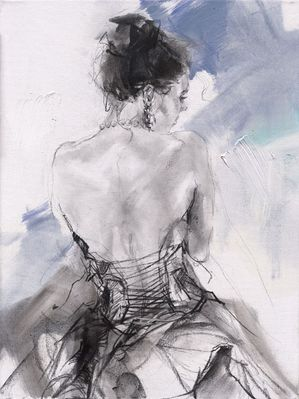 """Anna Razumovskaya Hand Signed and Numbered Limited Edition Embellished Canvas Giclee:""""Blue Fragrance 2"""""""