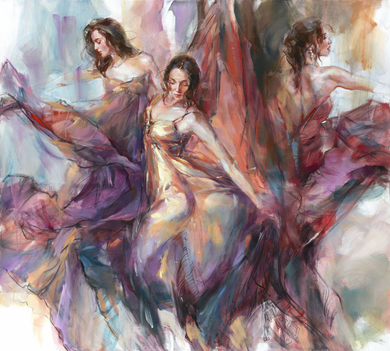 "Anna Razumovskaya Hand Signed and Numbered Limited Edition Embellished Canvas Giclee:""Polyphony"""