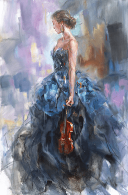 "Anna Razumovskaya Hand Signed and Numbered Limited Edition Embellished Canvas Giclee:""Solo II"""