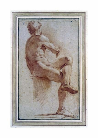 """Annibale Carracci Fine Art Open Edition Giclée:""""A Male Nude Seated with His Back Turned"""""""