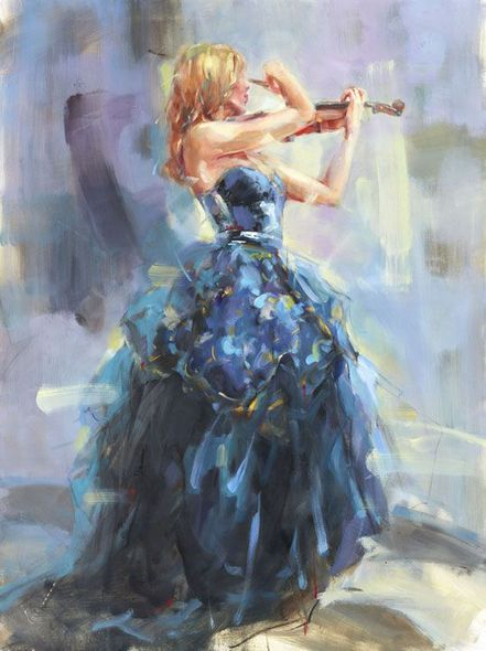 """Anna Razumovskaya Hand Signed and Numbered Limited Edition Embellished Canvas Giclee:""""Serenade in Blue 2"""""""