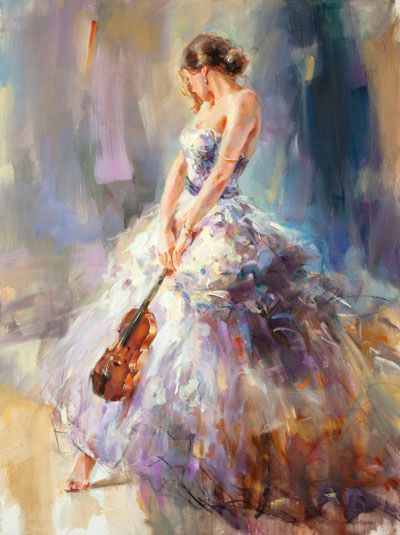 """Anna Razumovskaya Hand Signed and Numbered Limited Edition Embellished Canvas Giclee:""""Flirting with a Violin 3"""""""
