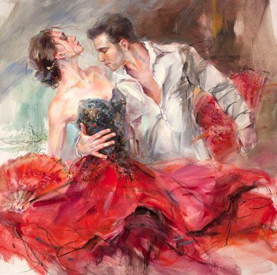 """Anna Razumovskaya Hand Signed and Numbered Limited Edition Embellished Canvas Giclee:""""Flagrant Red"""""""