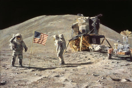 """Alan Bean Hand Signed Artist Proof Limited Edition Giclee Print on Paper:""""Ceremony on the Plain at Hadley"""""""