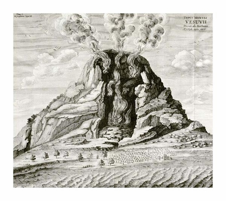 "Athanasius Kircher Fine Art Open Edition Giclée:""Engraving of Vesuvius Erupting"""