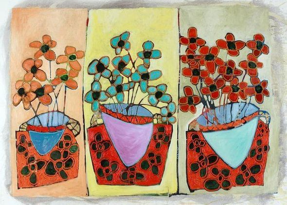 "Avi Ben-Simhon Limited Edition Canvas Giclee:""Three Blooms"""