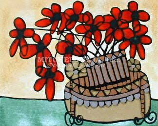 "Avi Ben-Simhon Limited Edition Serigraph on Paper:""Red Poppies"""