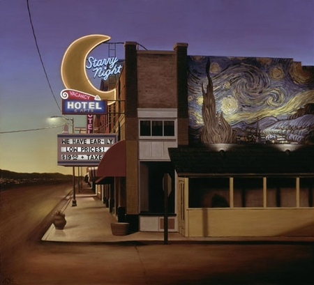 "Ben Steele Hand Signed and Numbered Limited Edition Giclee On Paper and Canvas:""Starry Night Hotel"""