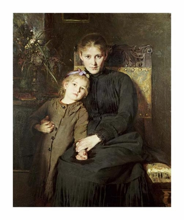 "Bertha Wegmann Fine Art Open Edition Giclée:""A Mother and Daughter in an Interior"""