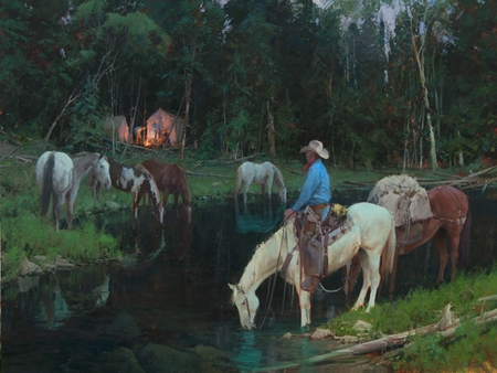 """Bill Anton Hand Signed and Numbered Limited Edition Giclee on Canvas and Paper:""""Evening Arrival"""""""