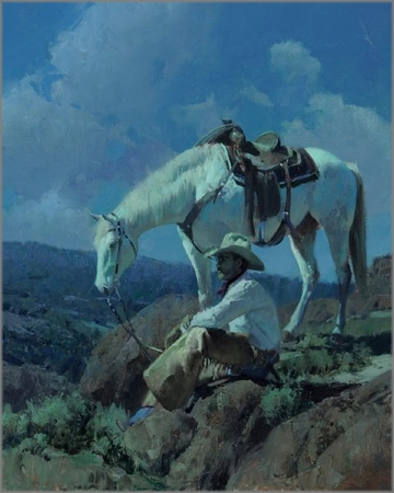 """Bill Anton Hand Signed and Numbered Limited Edition Giclee Print:"""" Under a Cowboy Moon """""""