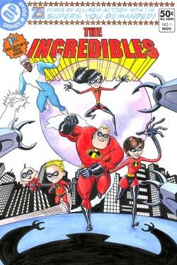 """Bill Morrison Signed and Numbered Hand-Embellished Giclée on Canvas: """"The Incredibles #1"""""""