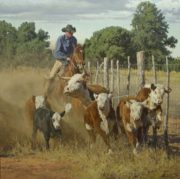 """Bill Owen Hand Numbered Limited Edition Giclee on Canvas:""""Caught a Little Deep"""""""