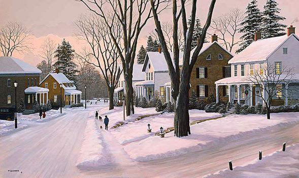 "Bill Saunders Handsigned and Numbered Limited Edition Giclee on Canvas :""Holiday Memories"""