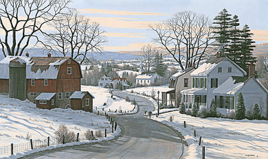 """Bill Saunders Handsigned and Numbered Limited Edition Giclee on Canvas:""""Sledding At Grandpa's Farm"""""""
