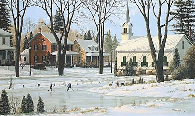 """Bill Saunders Handsigned and Numbered Limited Edition Giclee on Canvas :""""The Skating Pond"""""""