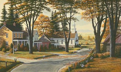 """Bill Saunders Handsigned and Numbered Limited Edition Giclee on Canvas :""""Walking With Grandpa"""""""