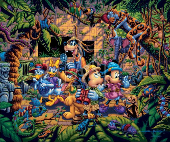 "Eric Dowdle Artist Signed Limited Edition Giclee Print:""Mickey and Friends Exploring the Jungle"""