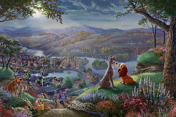 "Thomas Kinkade Studios Disney Limited Edition Giclee:"" Lady and the Tramp Falling in Love"""