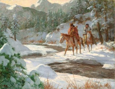 "Howard Terpning (Western Art Magazine Cover) Ltd Ed Canvas Giclee:""Cold Makers Bridge"""