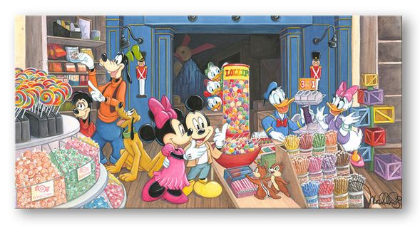"""Michelle St. Laurent Hand Signed and Numbered Limited Edition Embellished Canvas Giclee:""""Candy Store"""""""