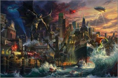 "Blend Cota limited edition giclée on canvas:""Justice League Showdown at Gotham City Pier"""