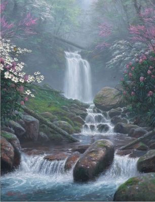"Mark Keathley Hand Signed and Numbered Limited Edition Embellished Canvas Giclee:""Mystic Falls  IV"""