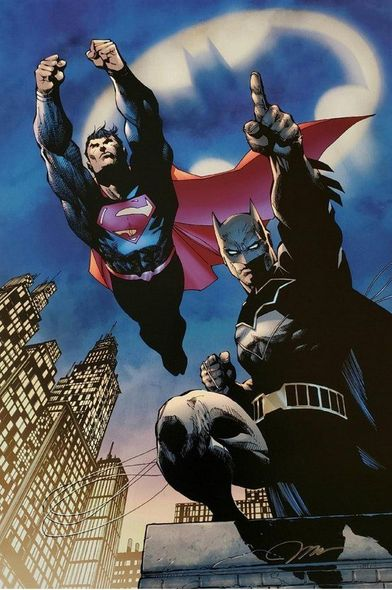 "Jim Lee Artist Signed Limited Edition Canvas Giclee:""Heroes Unite"""
