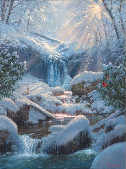 "Mark Keathley Hand Signed and Numbered Limited Edition Embellished Canvas Giclee:""Mystic Falls III"""