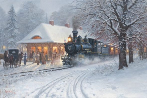 "Mark Keathley Hand Signed and Numbered Limited Edition Embellished Canvas Giclee:""Homecoming"""