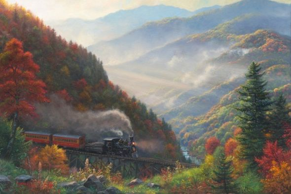 """Mark Keathley Hand Signed and Numbered Limited Edition Embellished Canvas Giclee:"""" Great Smoky Mountain Railroad"""""""
