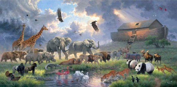 """Abraham Hunter Hand Signed and Numbered Limited Edition Embellished Canvas Giclee:""""Before the Flood"""""""