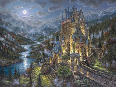 "Robert Finale Limited Edition Hand-Embellished Giclee on Canvas:""Moon Over Eltz Castle -Germany"""