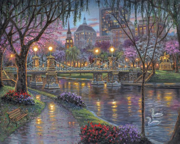 "Robert Finale Artist Signed Limited Edition Hand-Embellished Giclee on Canvas:""Boston, Lagoon Bridge"""