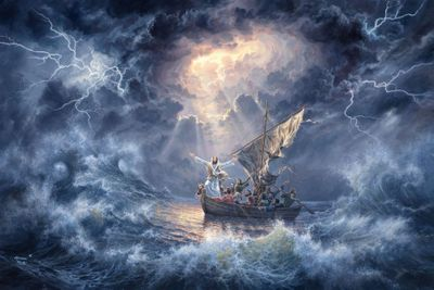 "Abraham Hunter Hand Signed and Numbered Limited Edition Embellished Canvas Giclee:""Eye Of The Storm"""