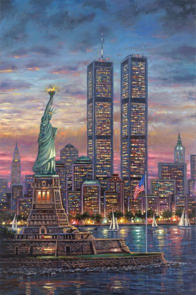 """Robert Finale Artist Signed Hand-Embellished Limited Edition Canvas Giclee:""""Never Forget, Twin Towers"""""""