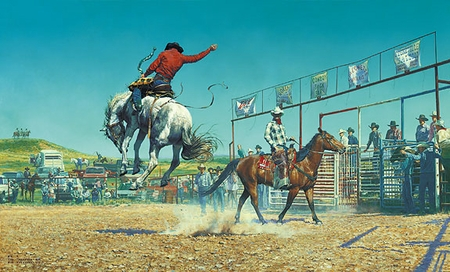 "Bob Coronato Handsigned and Numbered Limited Edition Print :""Thems a Bunch-a Bronc  Stompn' ... Sun Fishn ... S.O.B'.s"""