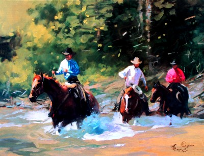 """Bonnie Conrad Hand Signed and Numbered Limited Edition Lithograph On Paper """"Knee Deep amd Risin'"""""""