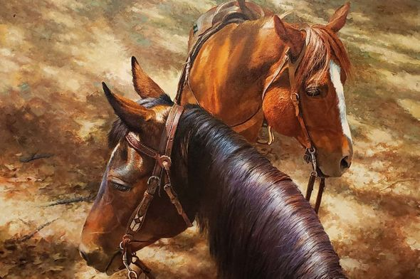 "Bonnie Marris Artist Signed Limited Edition Canvas Giclee:""Trail Buddies"""