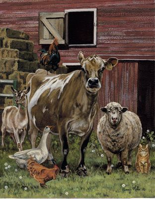 """Bonnie Mohr Handsigned and Numbered Limited Edition Giclee on Canvas:""""Barnyardigans"""""""