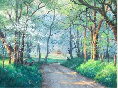 """Abraham Hunter Hand Signed and Numbered Limited Edition Embellished Canvas Giclee:""""Spring in Cades Cove"""""""