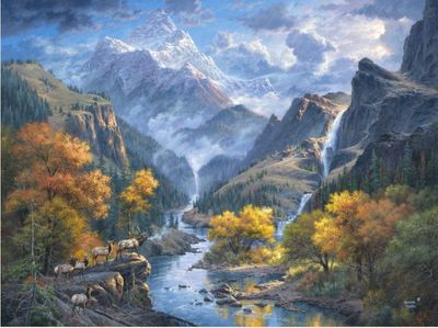 "Abraham Hunter Hand Signed and Numbered Limited Edition Embellished Canvas Giclee:""God's Country"""