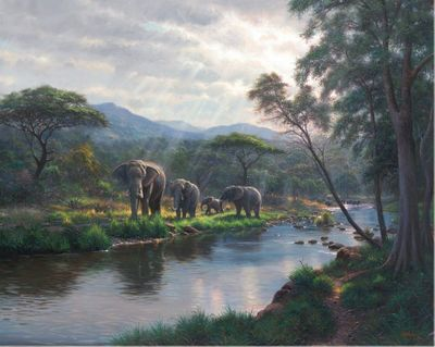 "Mark Keathley Hand Signed and Numbered Limited Edition Embellished Canvas Giclee:""Dreams of Africa"""