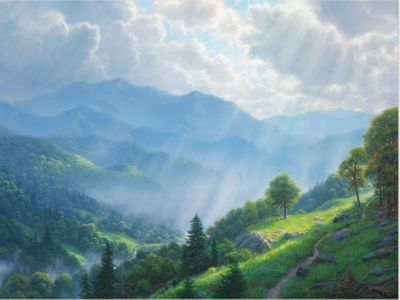 "Mark Keathley Hand Signed and Numbered Limited Edition Embellished Canvas Giclee:""Great Smoky Mountains """